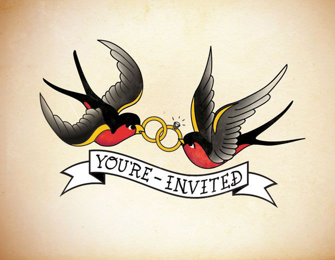 Sailor Jerry Save the Date inspired by brides love of her swallowSailor Jerry Swallow Tattoo